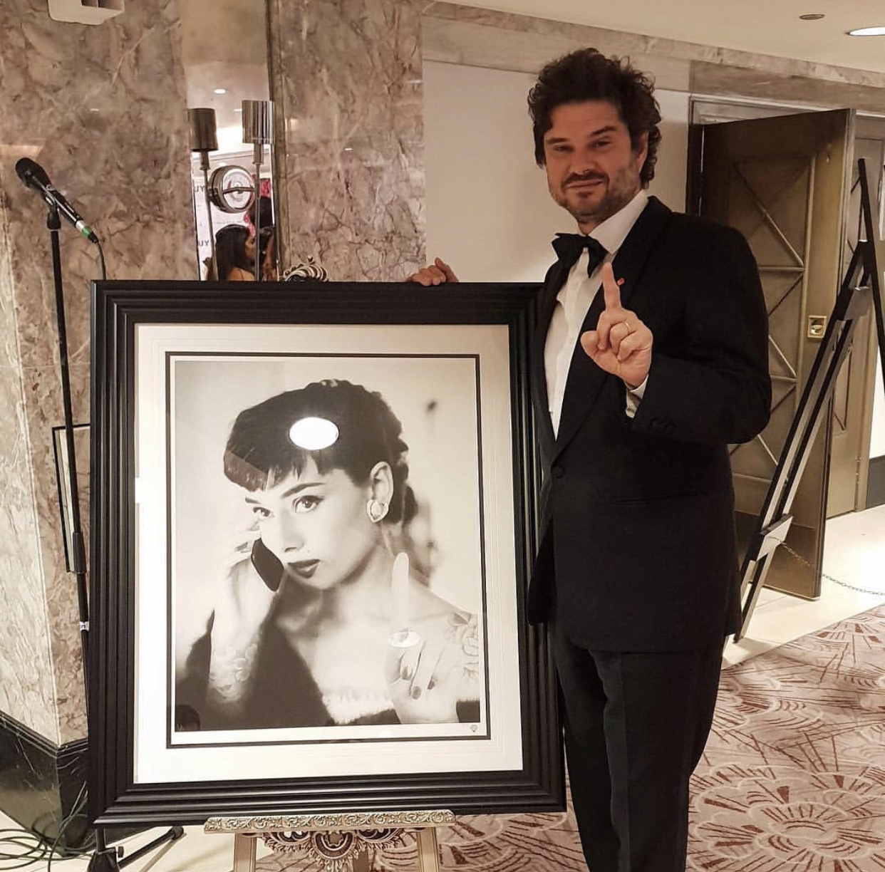 Audrey Hepburns son, Luca Dotti with one of JJ's pieces.