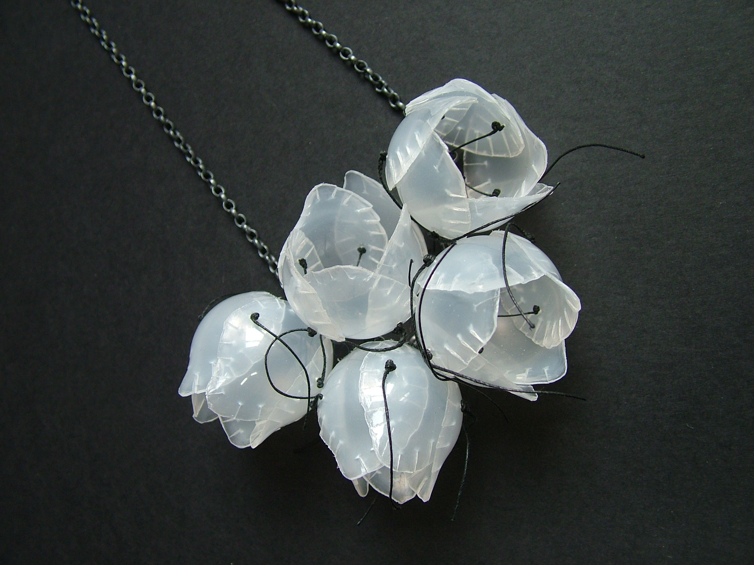 Cluster Necklace- contact lens containers and sterling silver