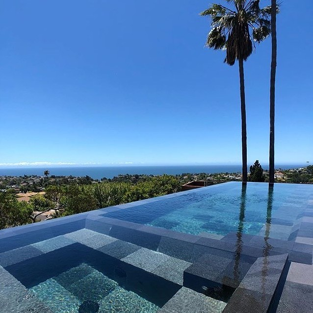 One of our #modernpools in #pacificpalisades with our #balinese #lavastone call us @moderndesignbuild for our #lavastone from #bali