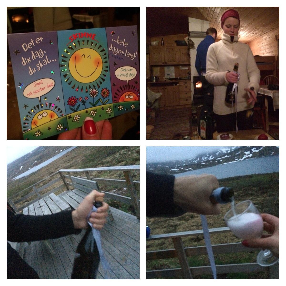 Vi hadde også med oss bursdagsbar, dermed champagne;)
