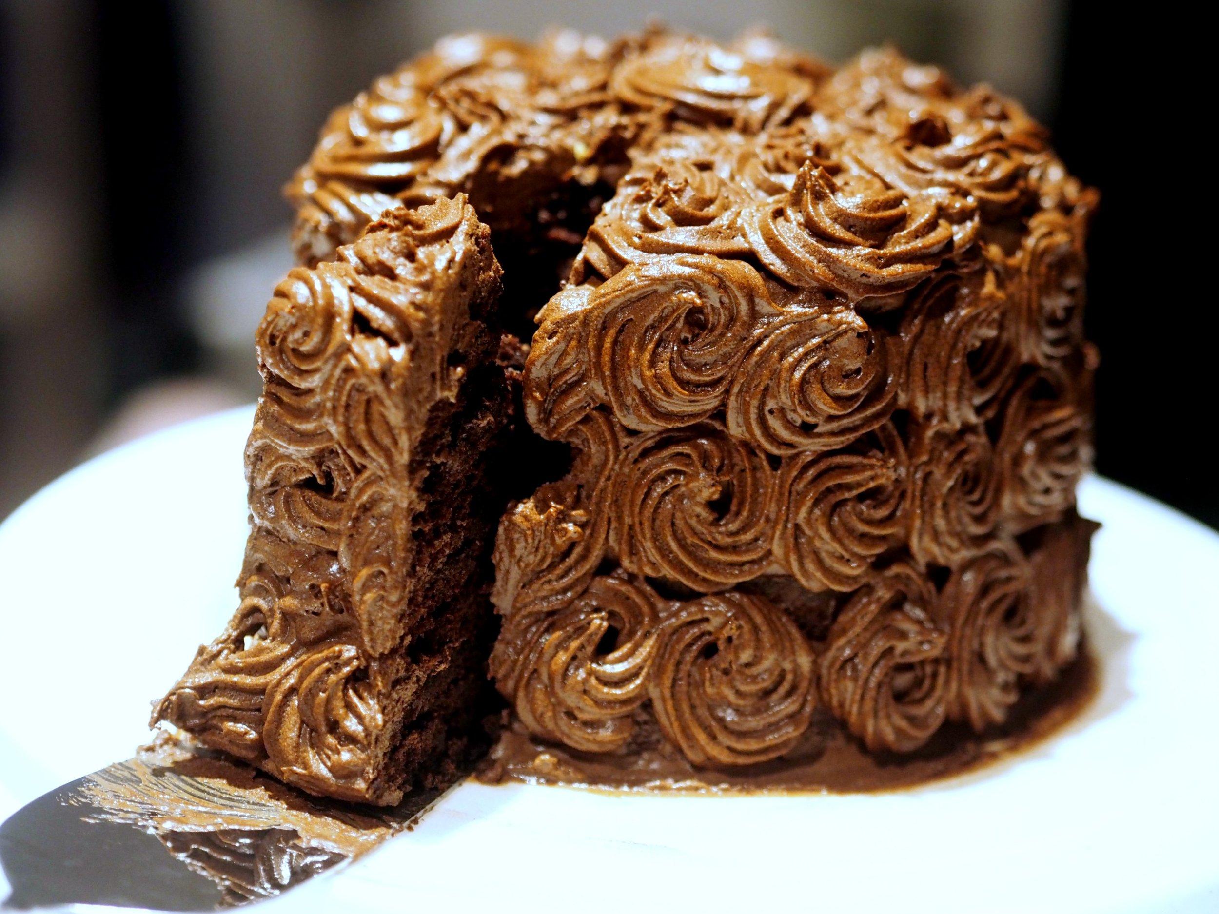 mørk sjokoladekake,