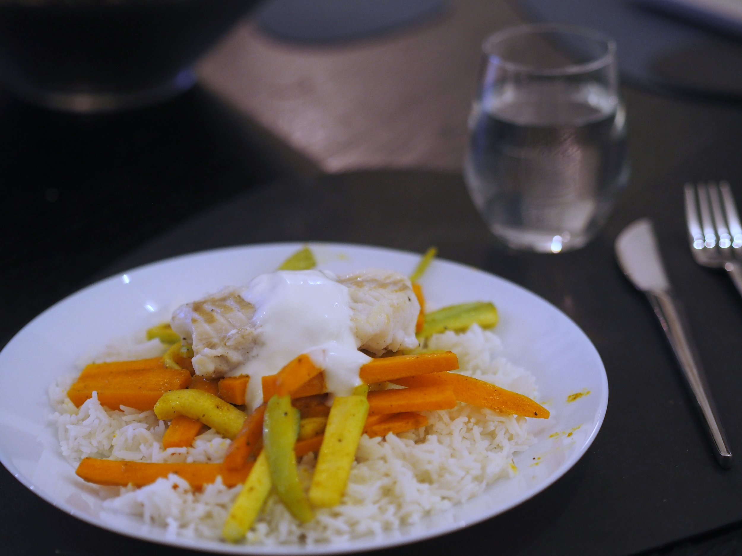 Torsk med karribakt gulrot og squash. Godt levert matkasse