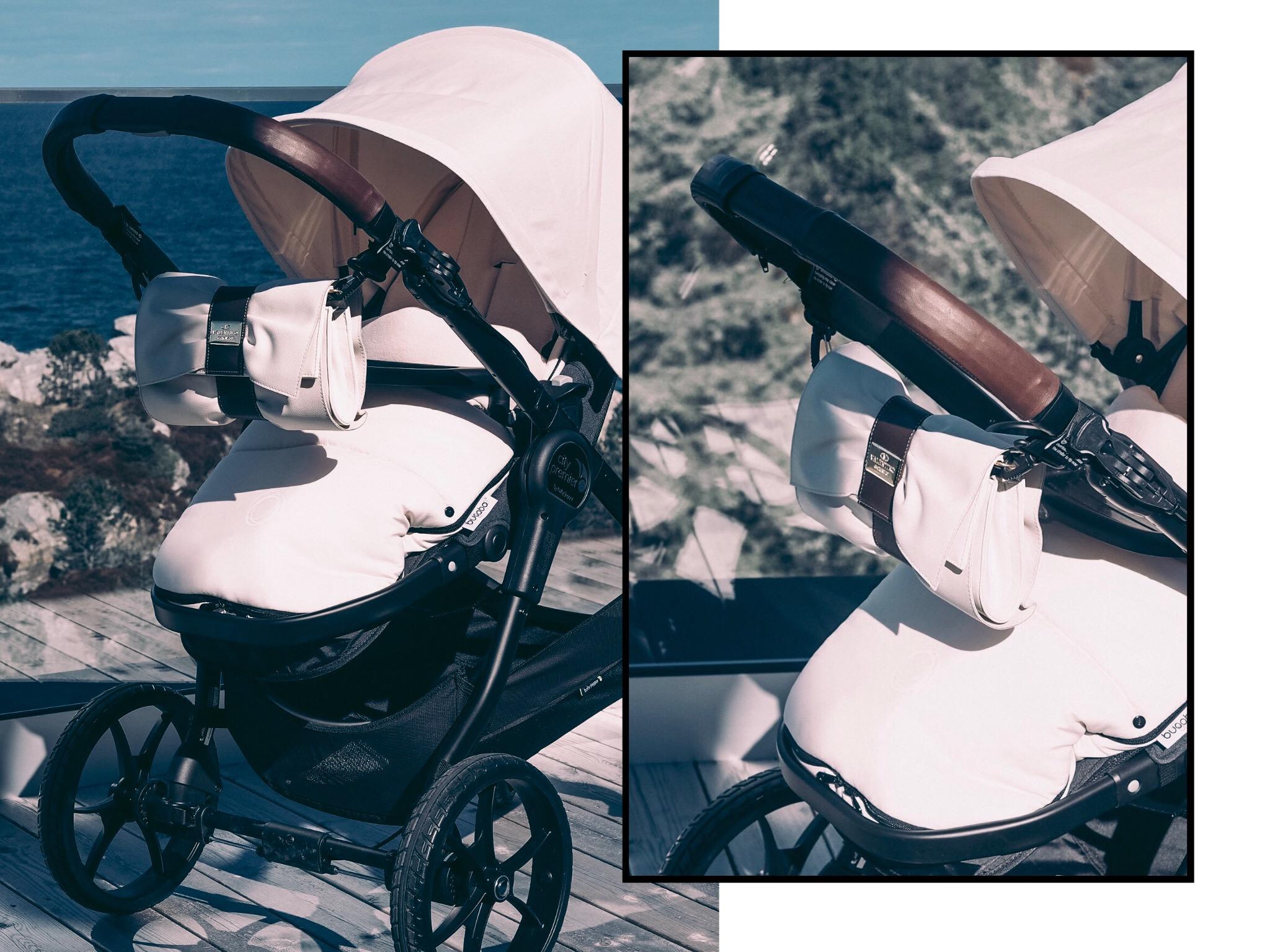 Baby Jogger City Premier, med Bugaboo kalesje og vognpose. Skinnhåndtak fra Etzy