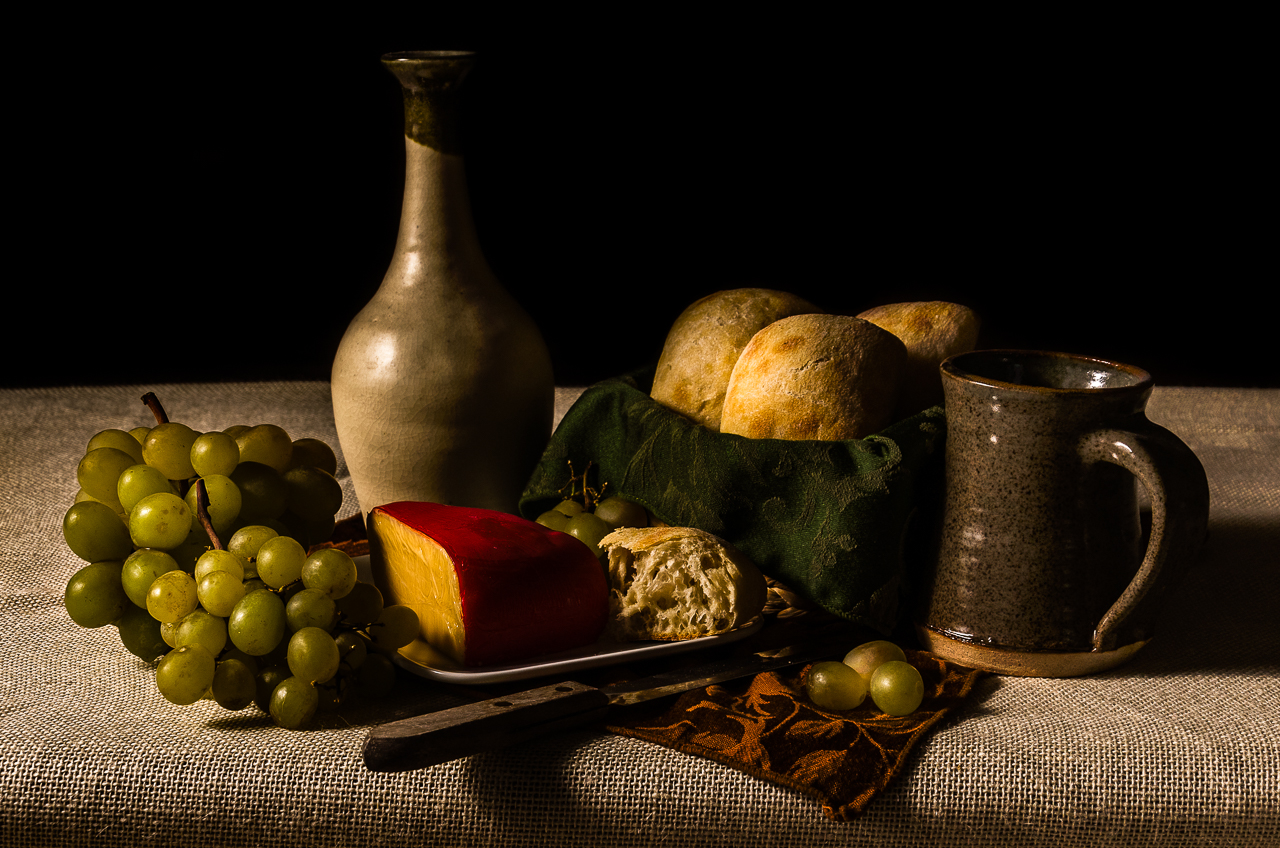 Still Life with Grapes, Bread, and Cheese