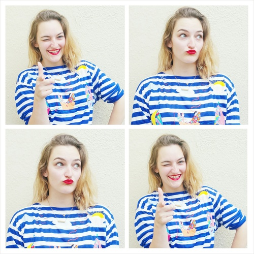 "My favorite way to ""rock a red lip"" as WWW suggested? In a vintage top with stripes and personality!"
