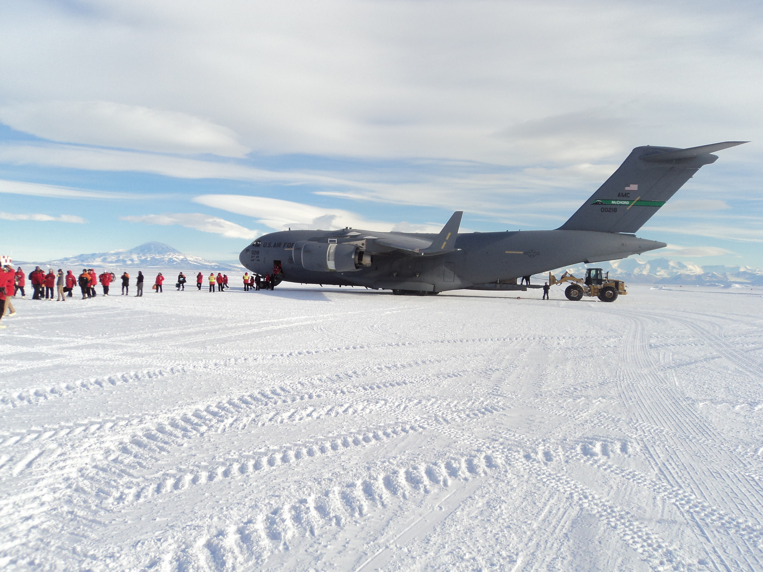 Our sweet ride...and yes, we land on ice!