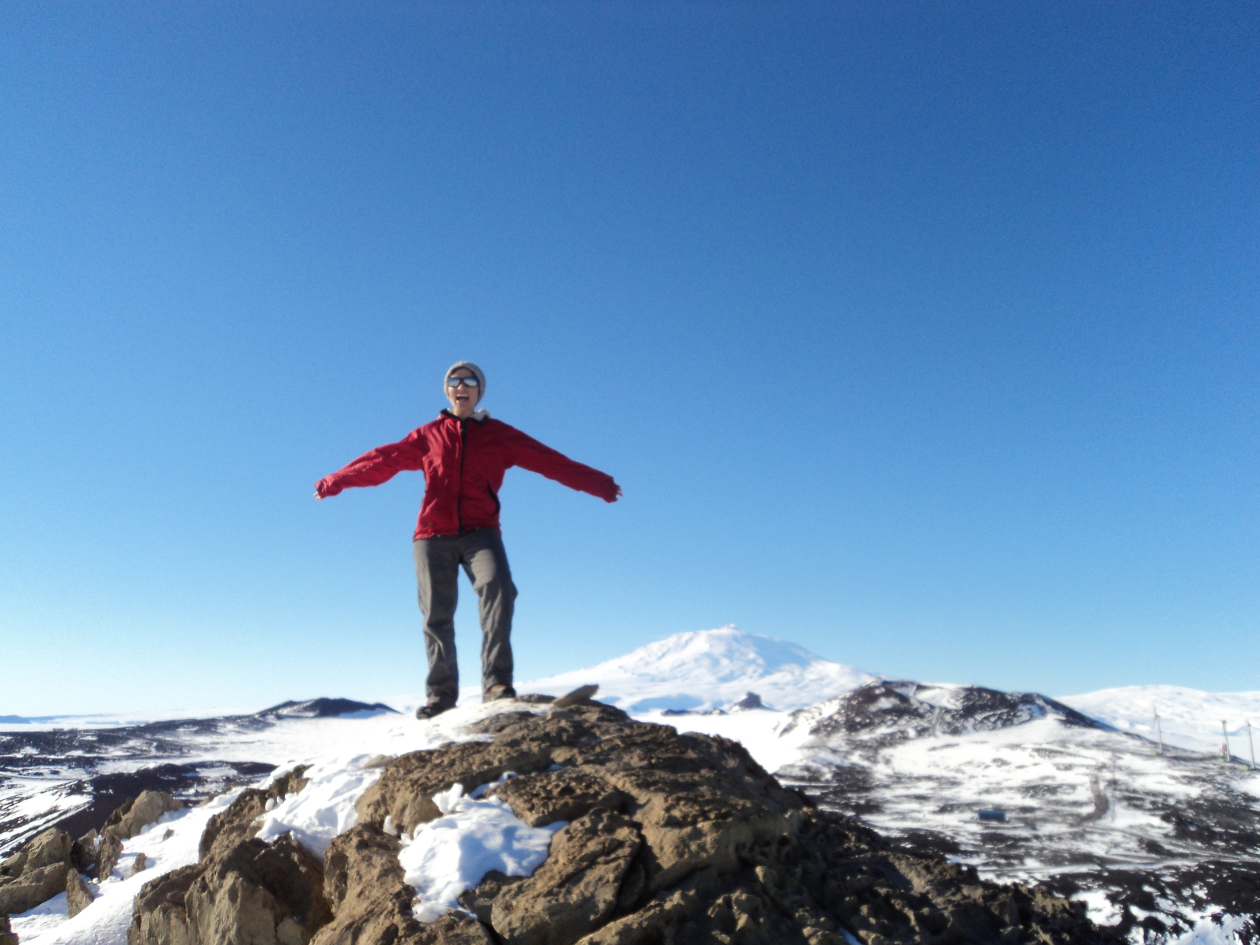 Hannah at the top! With Mt. Erebus churning away in the background.