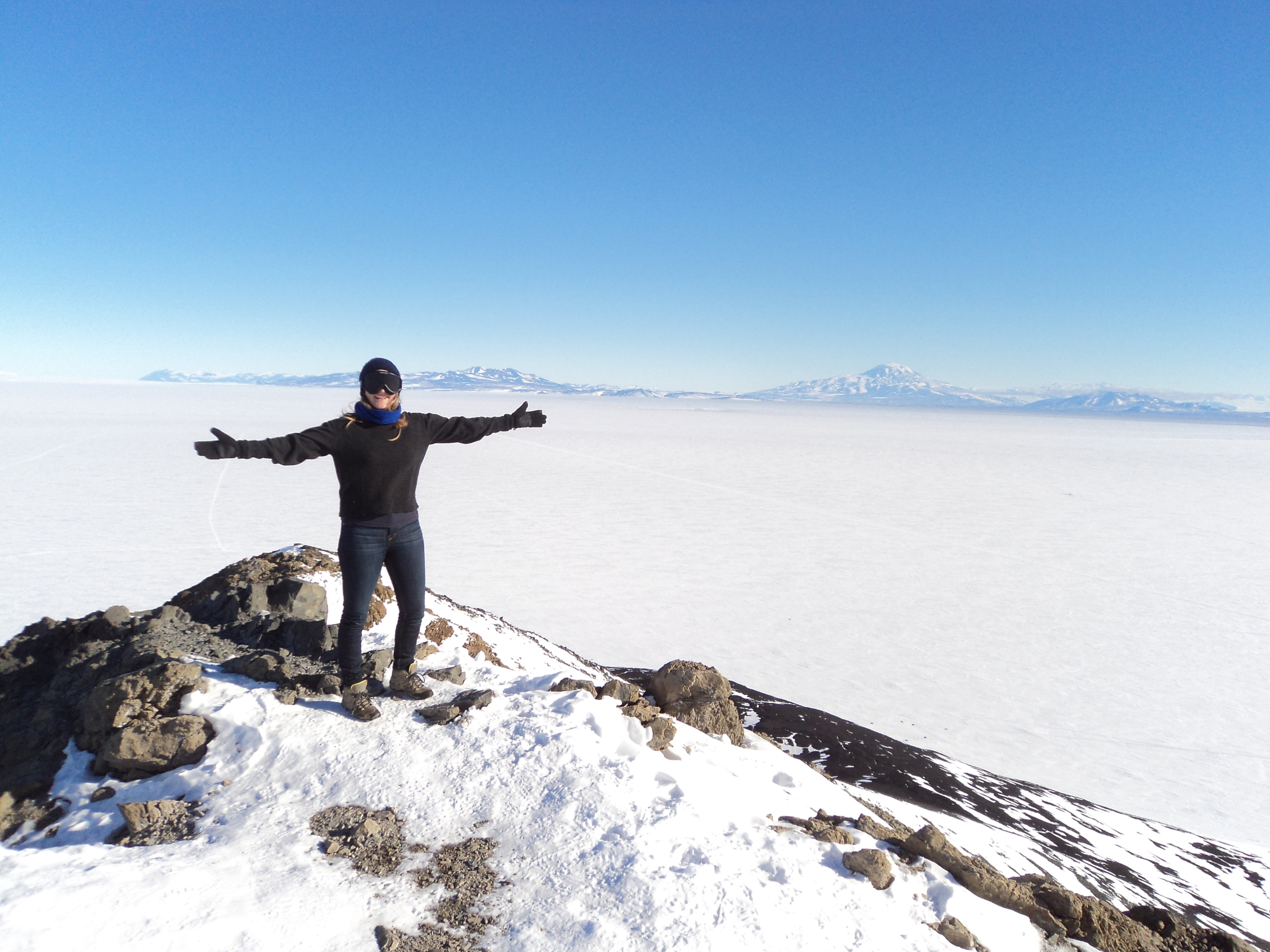 Me in front of the frozen Ross Sea (in a few months that will be all water!)