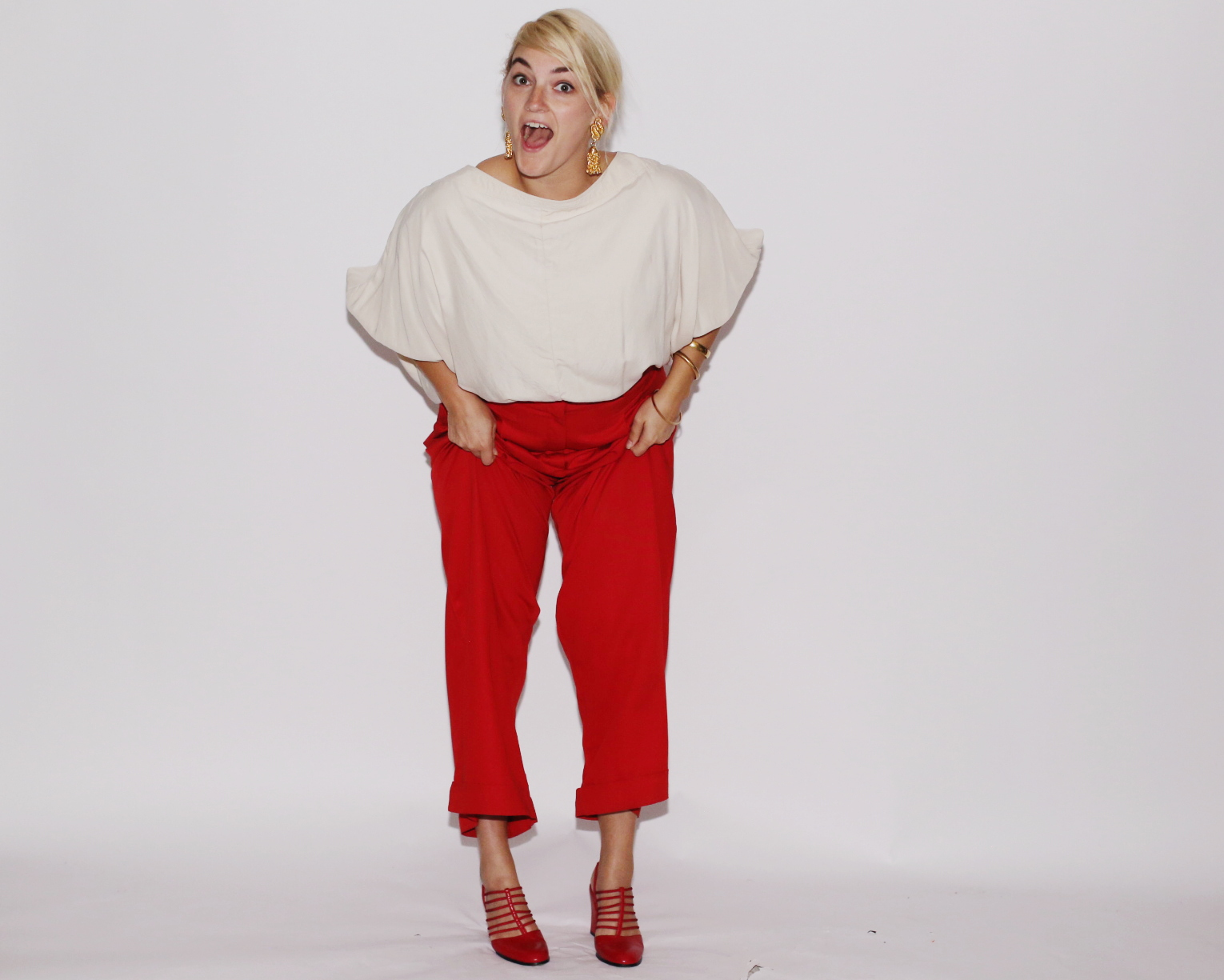 Look 2: Doo.Ri top, vintage pants, earrings, bracelets and heels