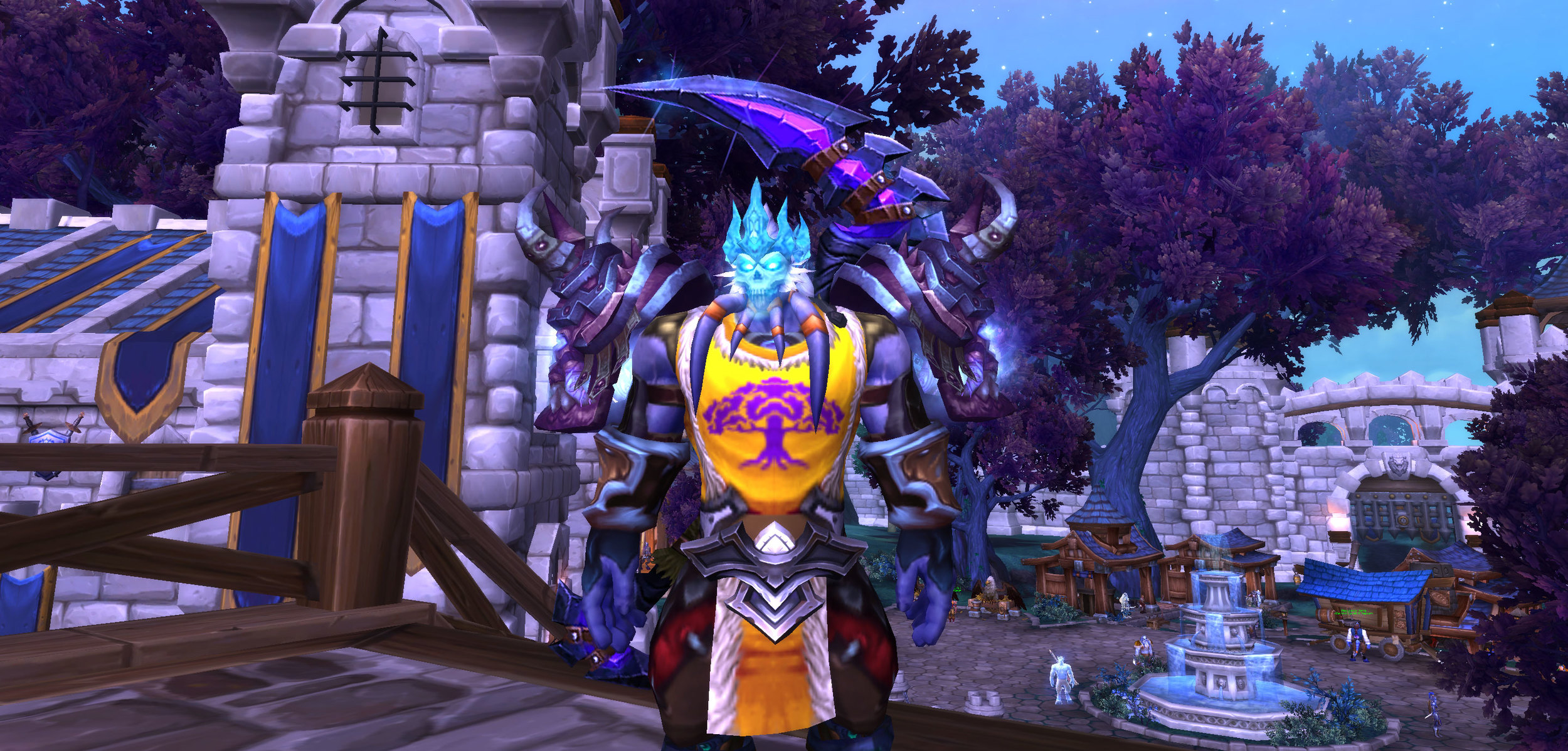 Woo Hoo! My max level Draenai Death Knight complete with epic gear and transmog items.