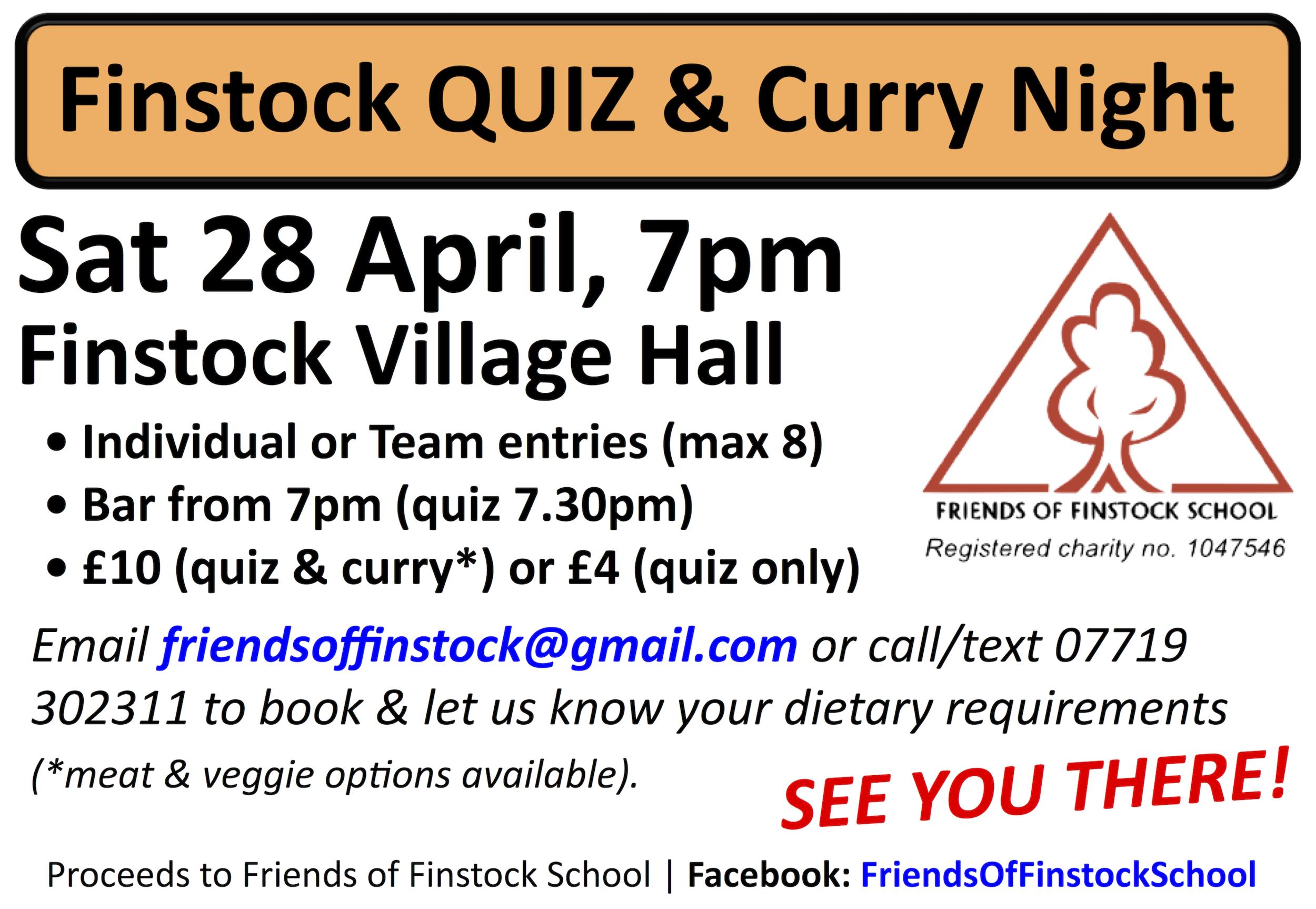 Finstock Village Quiz Night 28 April 2018