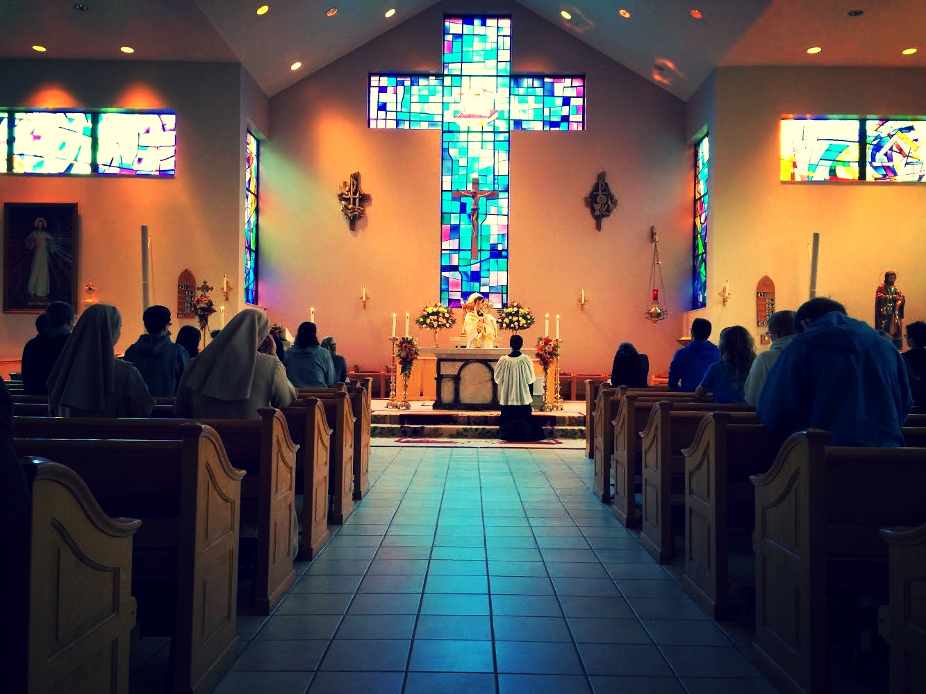 Holy Hour. Catholic Central Senior Retreat at Holy Family Church in Steubenville,  November 2014