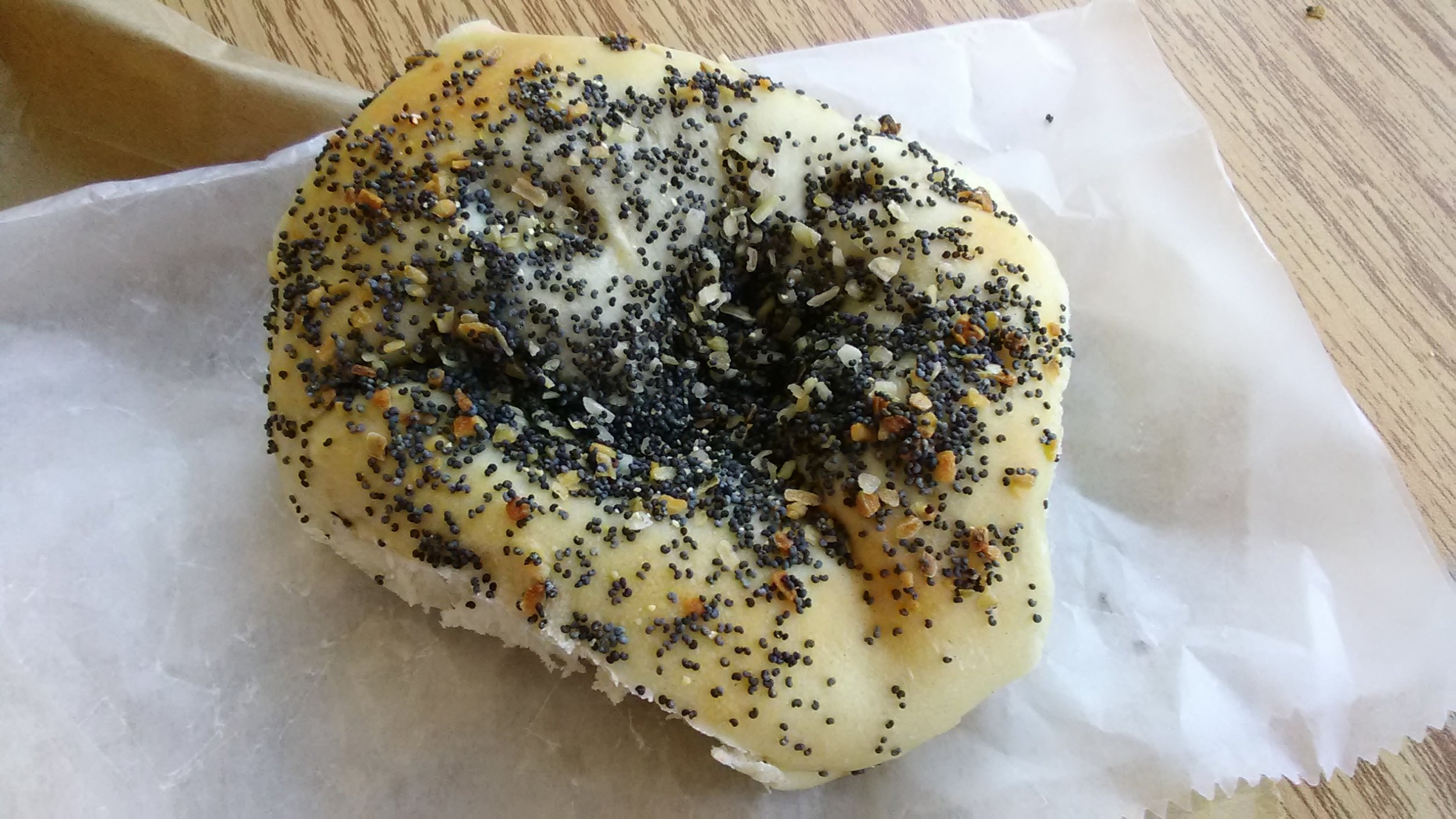 Fresh bialy from The Hot Bagel Shop.
