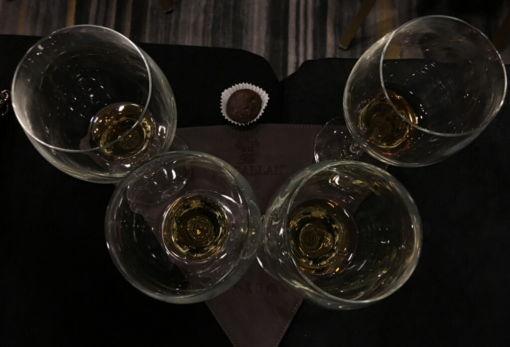 Four glasses and a truffle = perfect pairing.