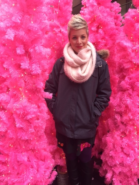 Pink trees, pink lipstick, warm and cozy. Doesn't get better! xo