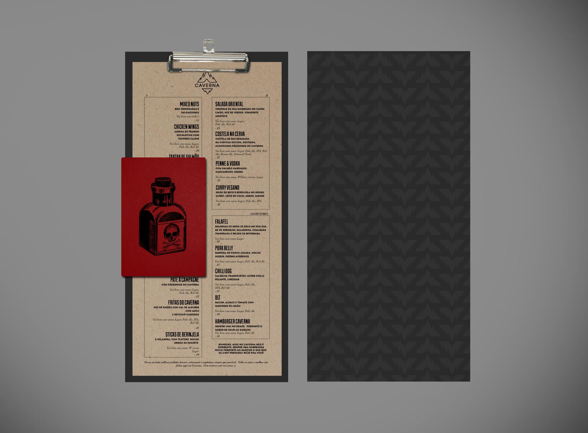 Menu and cocktail menu (mockup)
