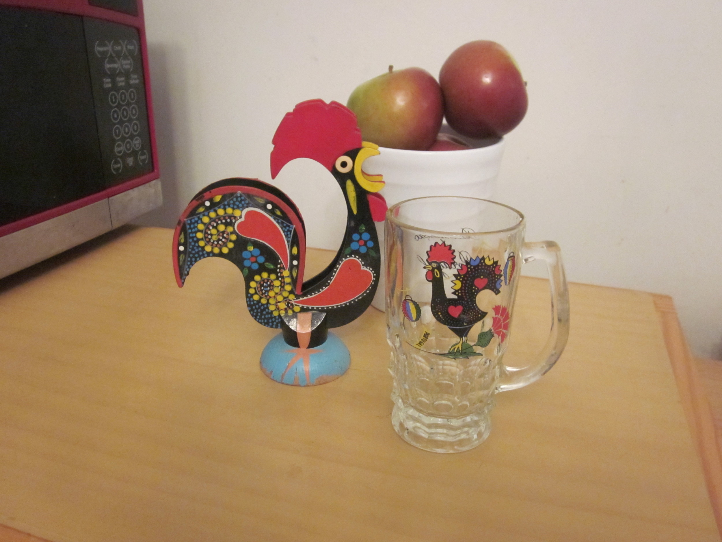 WAKE-UP CALL This rooster, a well-loved symbol of Portugal, graces the coffee mug and napkin holder, both gifts from my late Tia Mary.