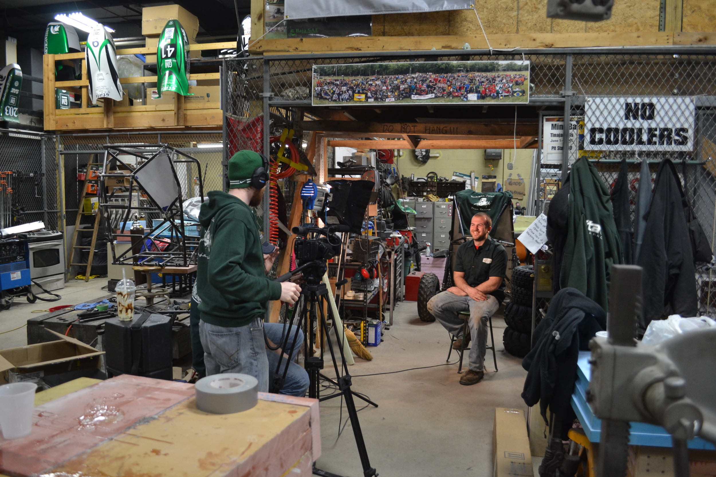 Chief Engineer Tom Dionne being interviewed out at the shop for the videos.