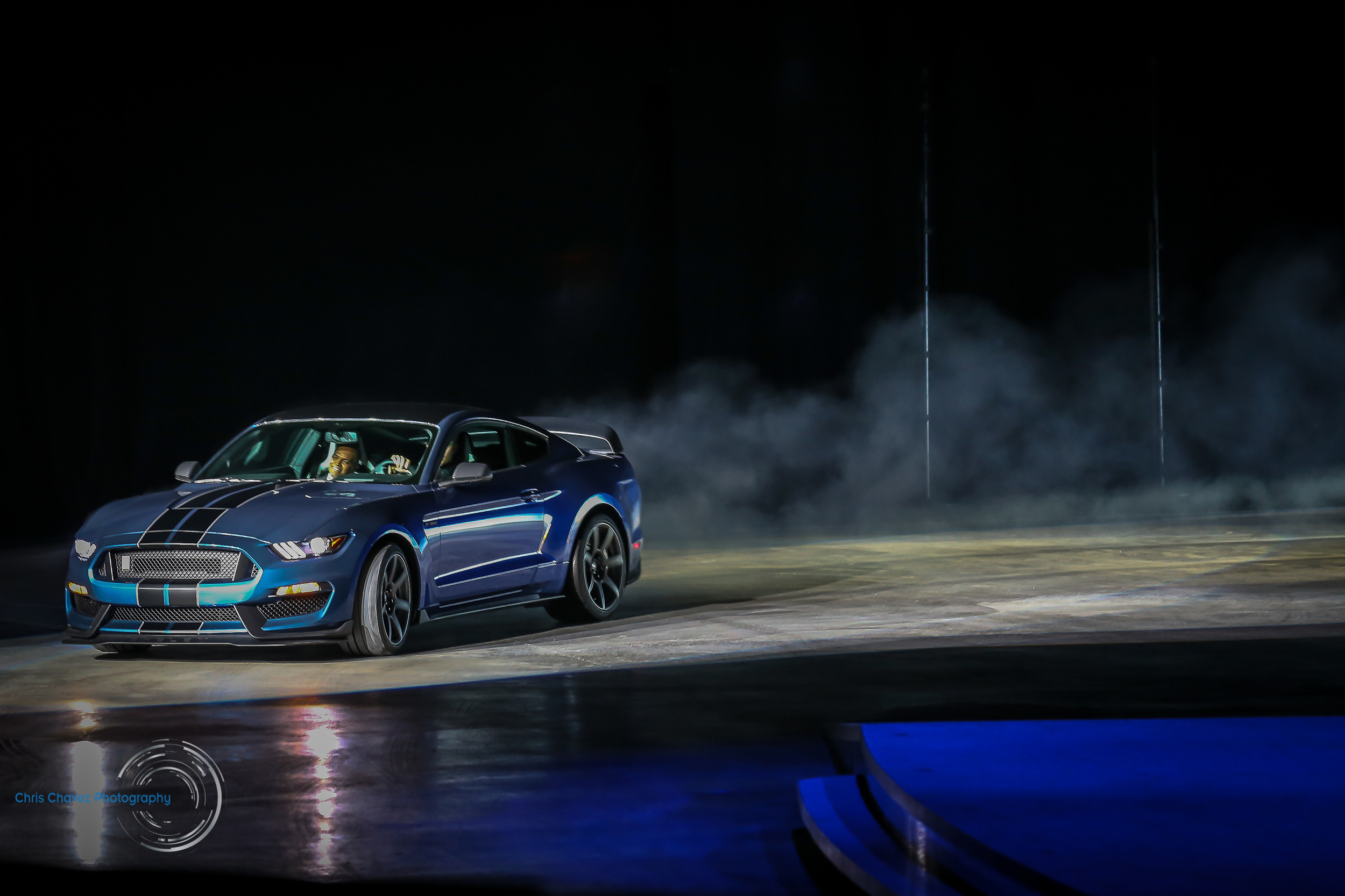 Ford Mustang shelby GT350r drifting into Joe Arena during it's world premier.   Click on image to be re-directed to see rest of NAIAS Day 1.