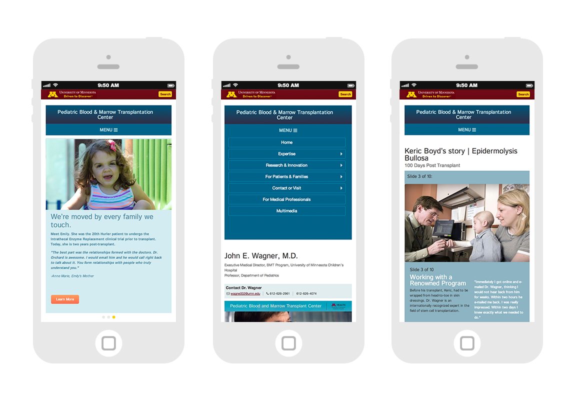 Mobile home screen, navigation, patient stories