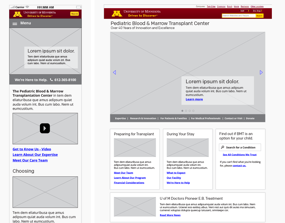 Wireframes, Home — mobile and desktop, created in InDesign