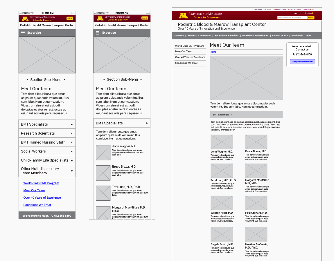 Wireframes, Meet Our Team — mobile and desktop, created in InDesign