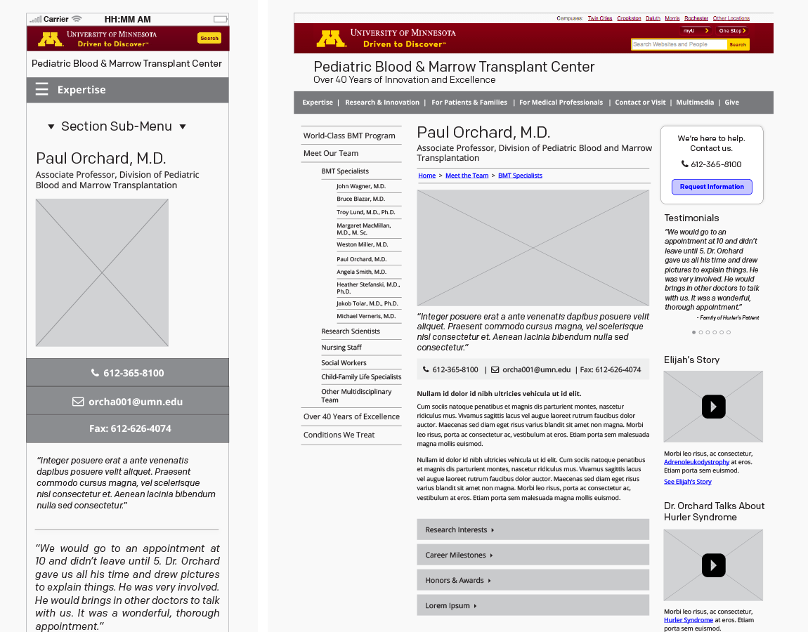 Wireframes, Doctor bios — mobile and desktop, created in InDesign