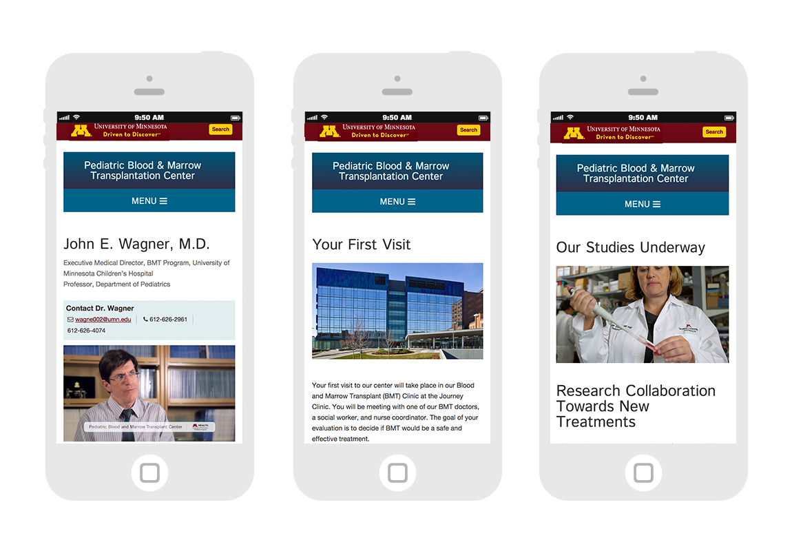 Mobile Doctor bios, First Visit information, and Research