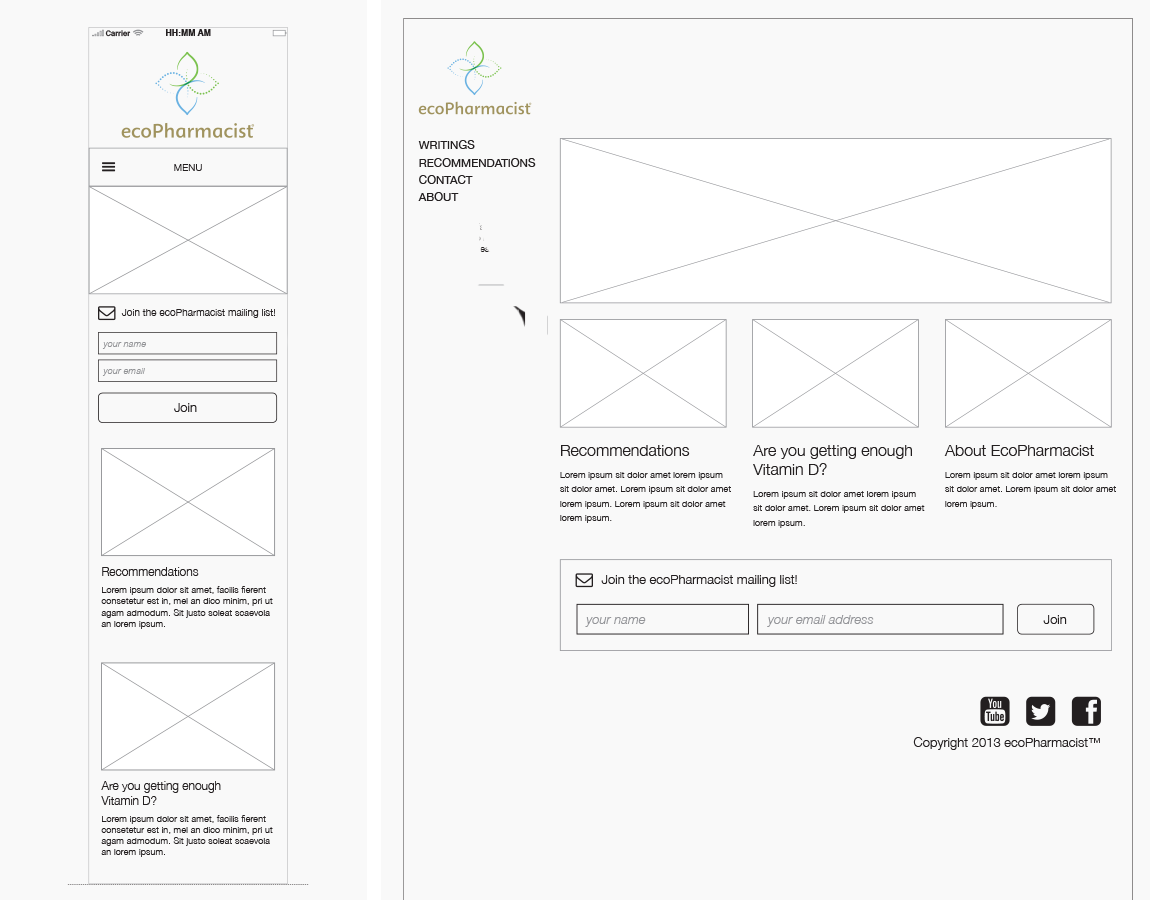 Wireframes, Home — Desktop and mobile, created in InDesign
