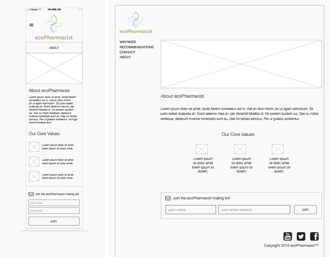 Wireframes, About — Desktop and mobile, created in InDesign