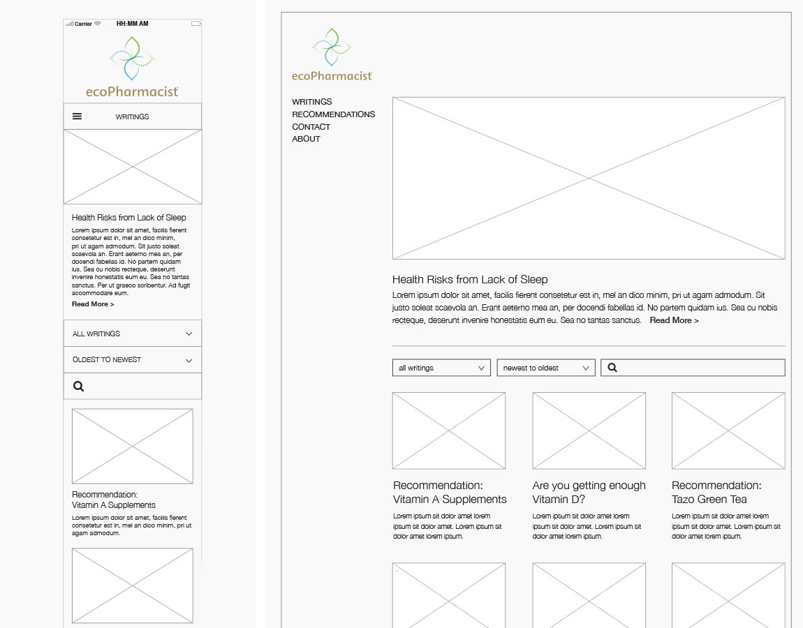 "Wireframes, ""Writings"" Blog — Desktop and mobile, created in InDesign"