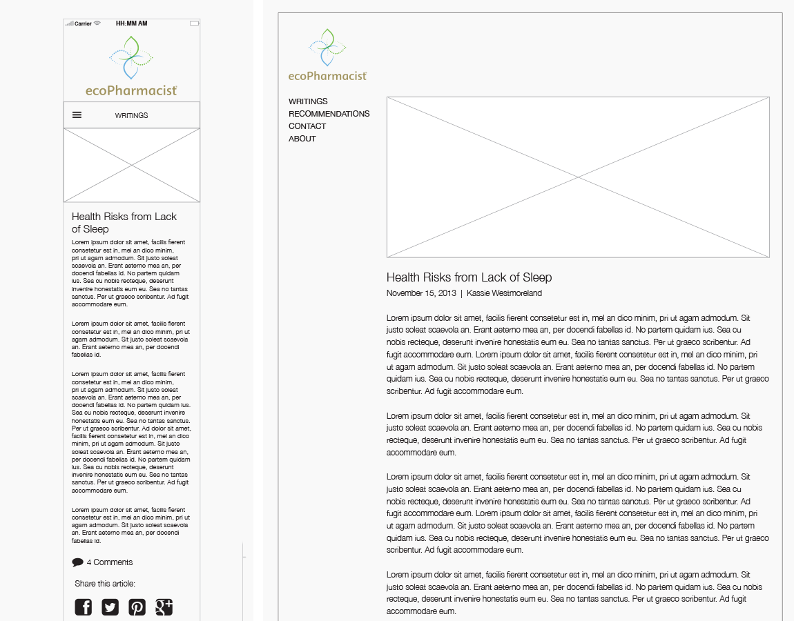 "Wireframes, ""Writings"" Blog, Detail Page — Desktop and mobile, created in InDesign"