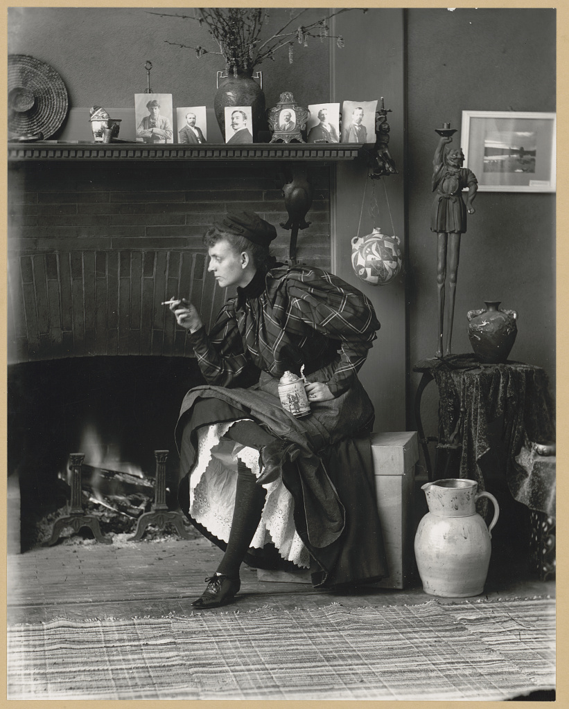 Photograph by Frances Benjamin Johnston of herself, seated in her Washington, D.C. studio 1896. Library of Congress. cph 3b11893  http://hdl.loc.gov/loc.pnp/cph.3b11893    gelatin silver print on paper