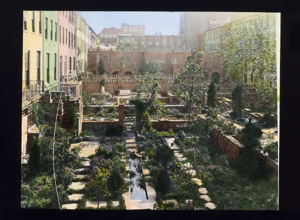 Photograph by Frances Benjamin Johnston of Turtle Bay Gardens, 227-247 East 48th Street and 228-246 East 49th St., NYC. View east to common garden. Library of Congress. ppmsca 16118  http://hdl.loc.gov/loc.pnp/ppmsca.16118