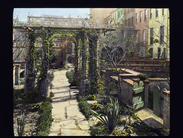 Photograph by Frances Benjamin Johnston of Turtle Bay Gardens, 227-249 East 48th and 228 East 49th Street, NYC. Library of Congress. ppmsca 16661  http://hdl.loc.gov/loc.pnp/ppmsca.16661