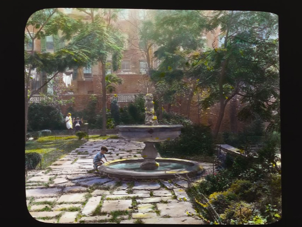 """Photography by Frances Benjamin Johnston of   """"Jones Wood"""" townhouses, E. 65th and E. 66th Streets between Lexington and Third Aves, NYC. North terrace fountain.  Library of Congress.   ppmsca 16195  http://hdl.loc.gov/loc.pnp/ppmsca.16195"""