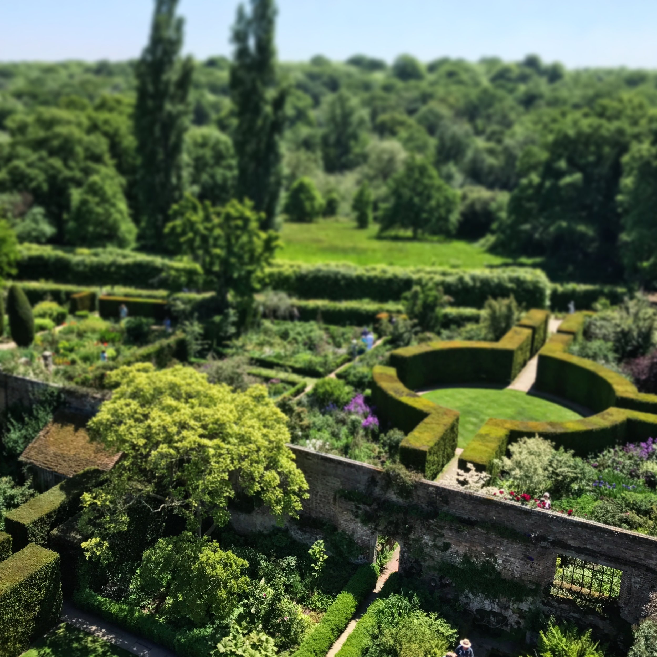 A view of two famous garden rooms at Sissinghurst Gardens, Kent, U.K. from the tower. Sissinghurst was the result of a collaboration between Bloomsbury Group members Vita Sackville-West (writer and passionate gardener) and her husband Harold Nicolson (architect).