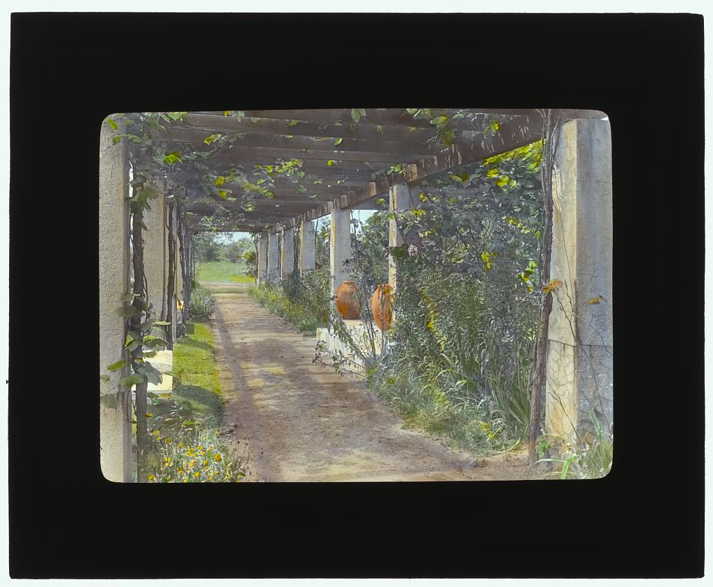 "Photograph by Frances Benjamin Johnston of ""Près Choisis,"" Albert Herter house, Georgica Pond, East Hampton, NY. Pergola. 1913. Library of Congress. ppmsca 16830  http:  //hdl.loc.gov/loc.pnp/ppmsca.16830"