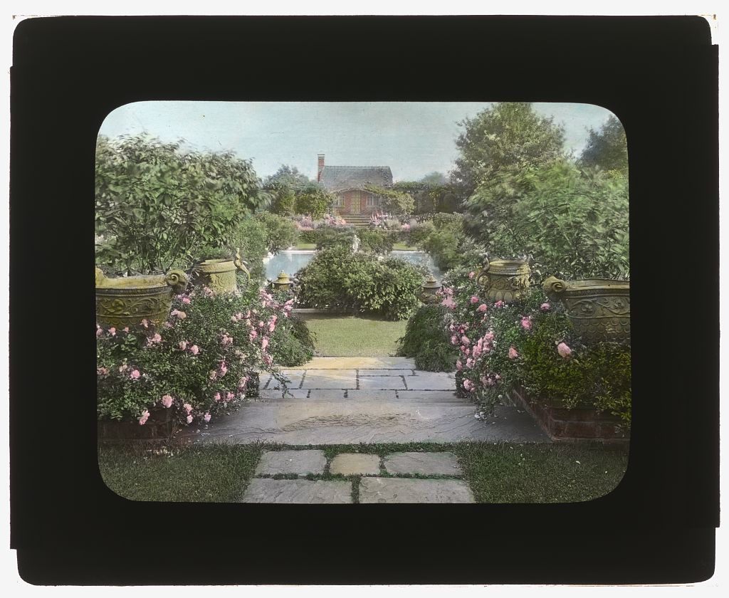 "Photography by Frances Benjamin Johnston of ""Planting Fields"" William Robertson Coe house, 1395 Planting Fields Road, Oyster Bay, New York. View to Blue Pool Garden and tea house. 1926. Library of Congress. ppmsca 16975  http:  //hdl.loc.gov/loc.pnp/ppmsca.16975"