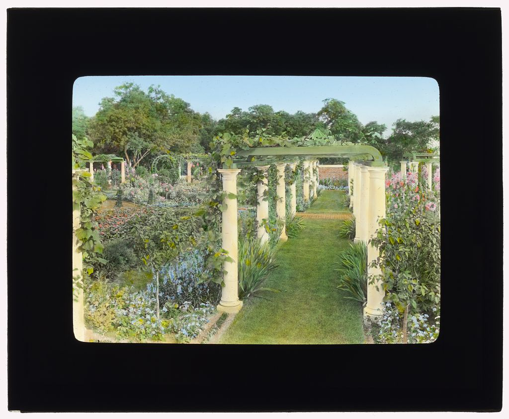 "Photograph by Frances Benjamin Johnston of ""Ballyshear,"" Charles Blair MacDonald house, Shinnecock Hills, Southampton, New York. Flower garden pergola. ca 1915. Library of Congress. ppmsca 16847  http://hdl.loc.gov/loc.pnp/ppmsca.16847"