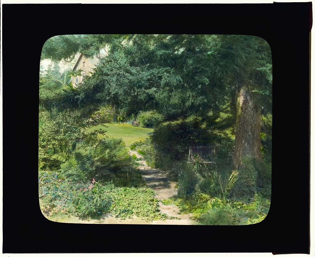 "Photograph by Frances Benjamin Johnston of ""Reef Point,"" Beatrix Jones Farrand house, Bar Harbor, Maine. Pathway to house. 1920.  Library of Congress. ppmsca 16695  http:  //hdl.loc.gov/loc.pnp/ppmsca.16695"