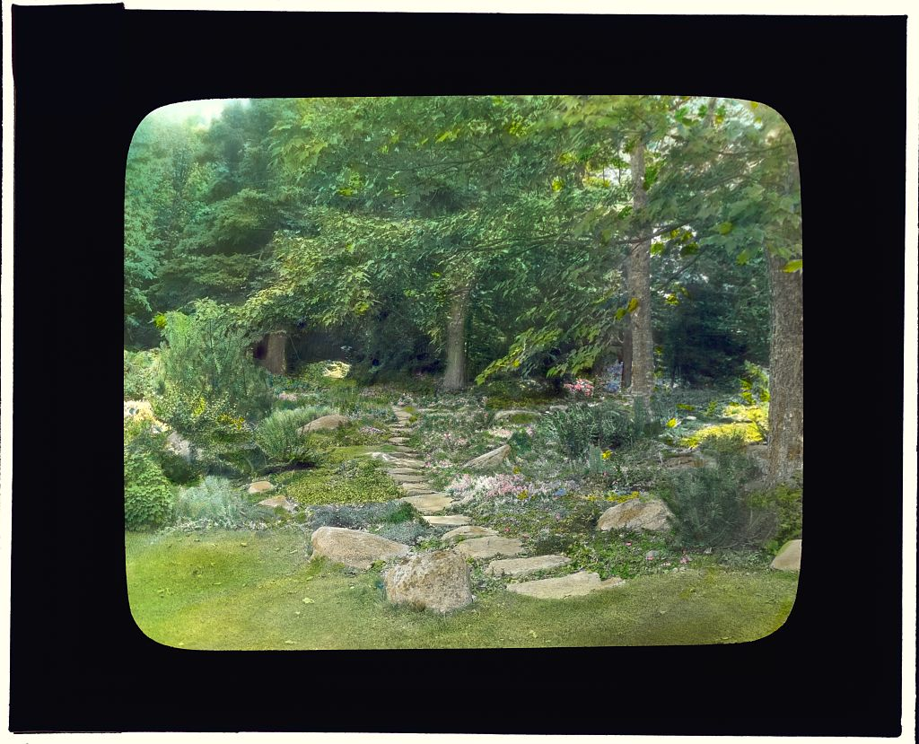 "Photograph by Frances Benjamin Johnston of ""Reef Point,"" Beatrix Jones Farrand house, Bar Harbor, Maine. Pathway. 1920.  Library of Congress.   ppmsca 16693  http://hdl.loc.gov/loc.pnp/ppmsca.16693"
