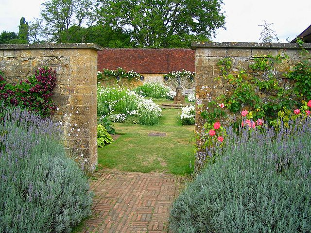 Photograph by Patrick Charpiat of enclosed gardens, designed by Gertrude Jekyll, at Barrington Court Manor, UK, 2006. Uploaded to Wikimedia Commons June 25, 2011.