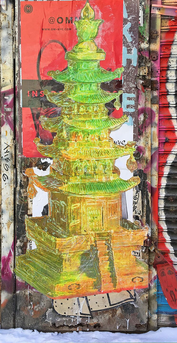 Green Pagoda in Snow, Chelsea, NYC