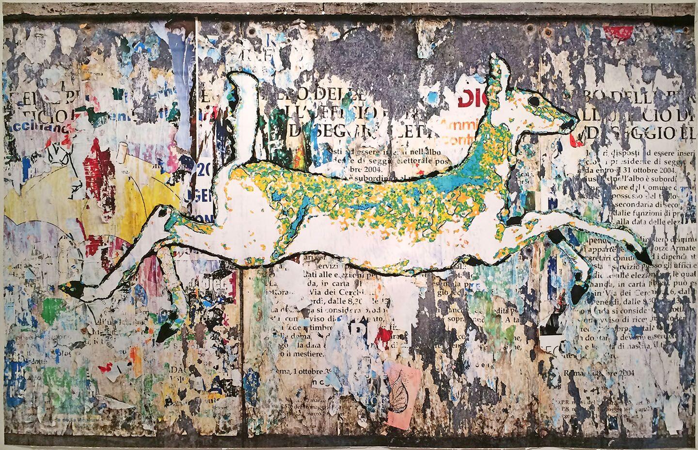 Scroll:  Bounding Deer (Rome, Italy)
