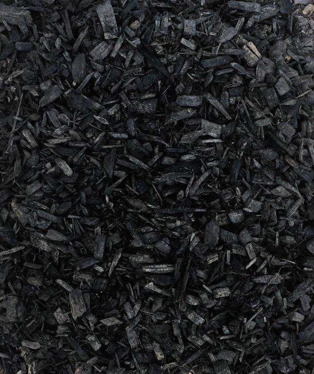 BLACK CHIPS  $45 per cubic yard One of the three chipped mulches Lawn-Corps processes for a more manicured look to your landscaping. Organically dyed and processed. Colorants used are environmentally safe and non-toxic for children, pets and plants.