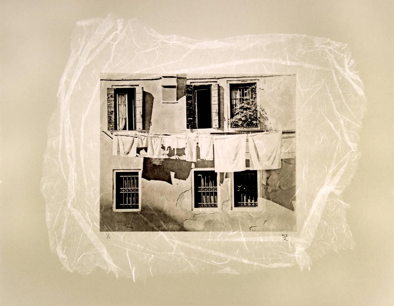 Clothesline chine-collé (white)