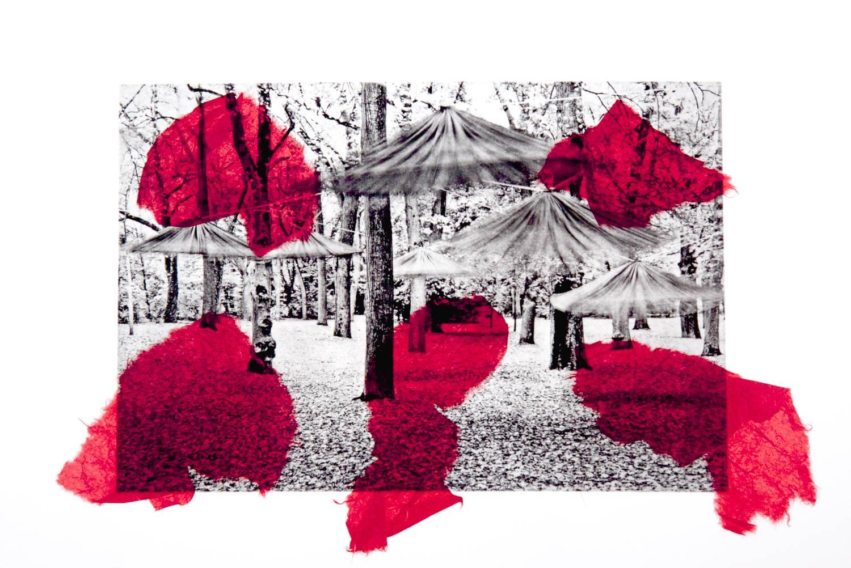 Dancing Umbrellas chine-collé (red)