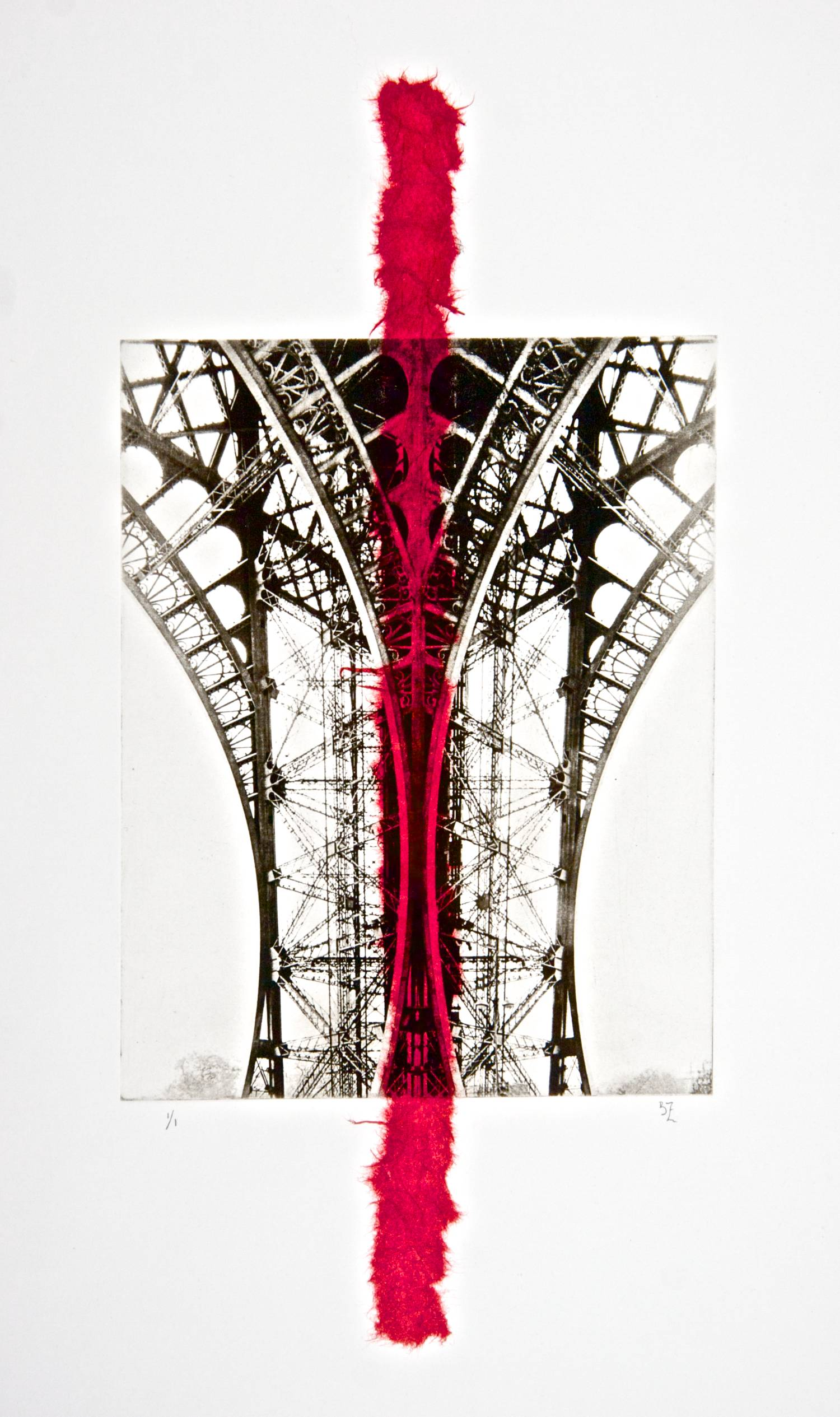Eiffel chine-collé (red)