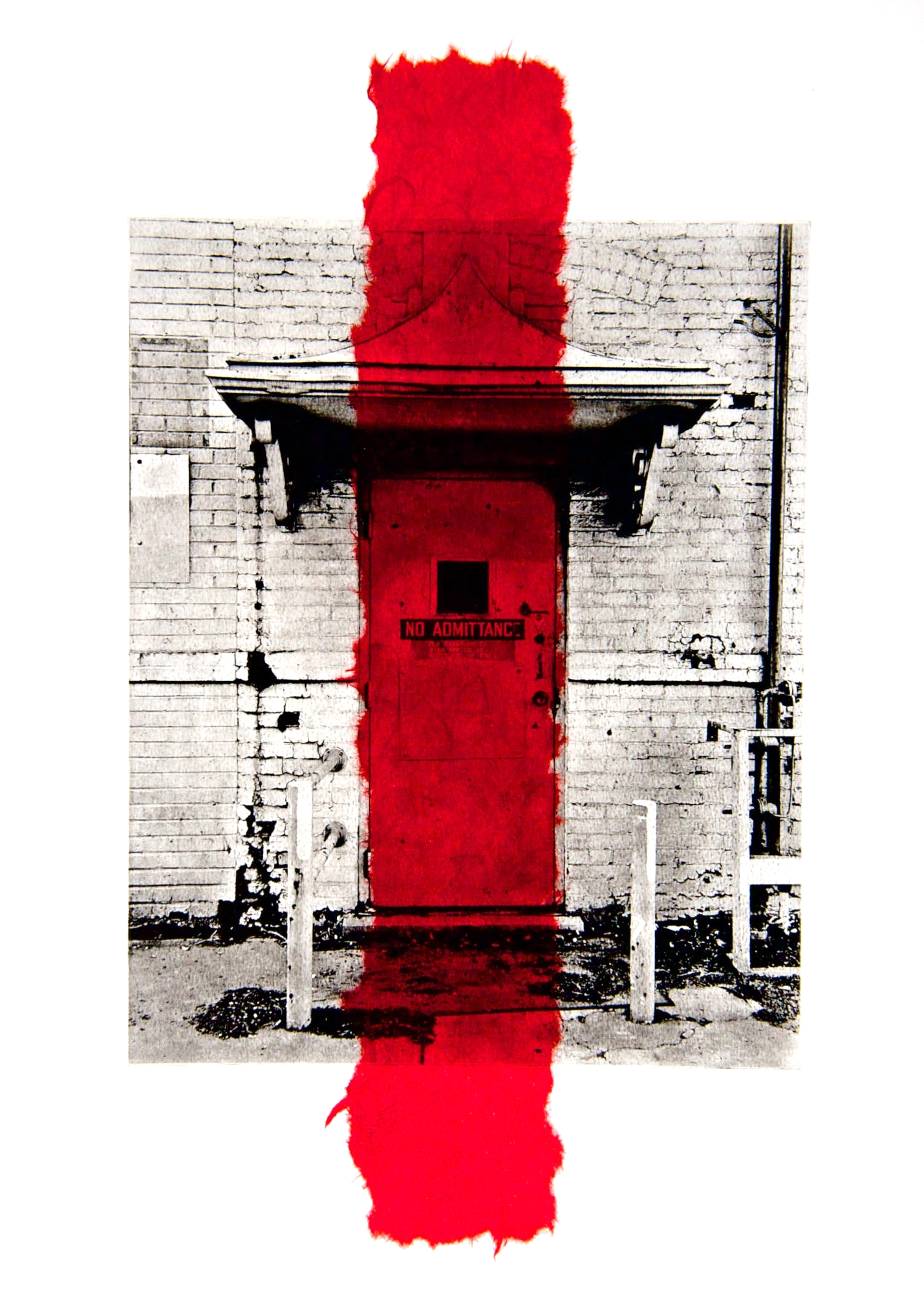 No Admittance chine-collé (red)